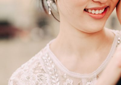 Smiling bride with perfect makeup